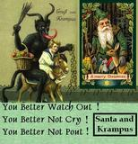 SANTA AND KRAMPUS WITH WORDS FROM CHRISTMAS SONG SANTA CLAUS IS COMING TO TOWN